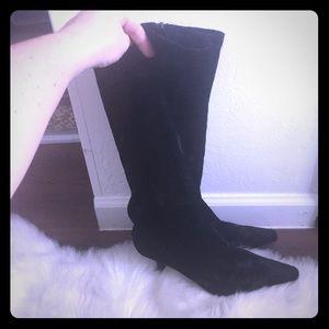 Diba Black Crushed Velvet Calf Boot Heels